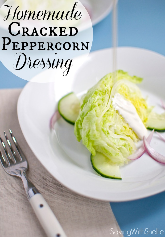 Fresh, yummy Homemade Cracked Peppercorn Salad Dressing. Why buy it when you can make your own with 5 ingredients.
