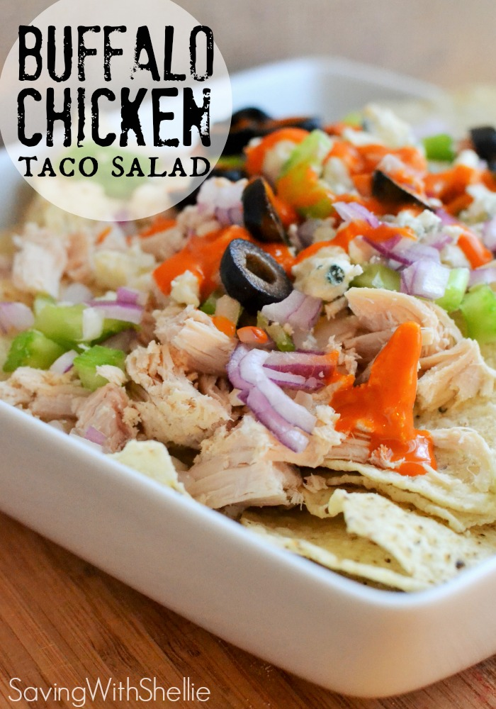 This is such an easy lunch idea! Buffalo Chicken Taco Salad. This is a yummy (and healthy) way to use up leftover chicken.