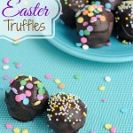 To make these easy Chocolate Truffles, you just need are Oreos, cream cheese and chocolate. Add sprinkles for a festive Easter dessert. You could even roll them oblong to make them look like eggs.