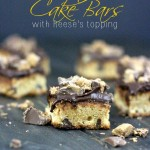 These Peanut Butter Chocolate Chip Cake Bars are perfect as is but add a little crumbled Reese's Topping to make them decadent.