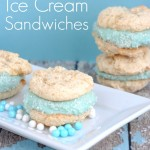 It's super easy to whip up a batch of these FROZEN Inspired Ice Cream Sandwiches. Perfect for a Frozen Birthday party or any get together with little ones!