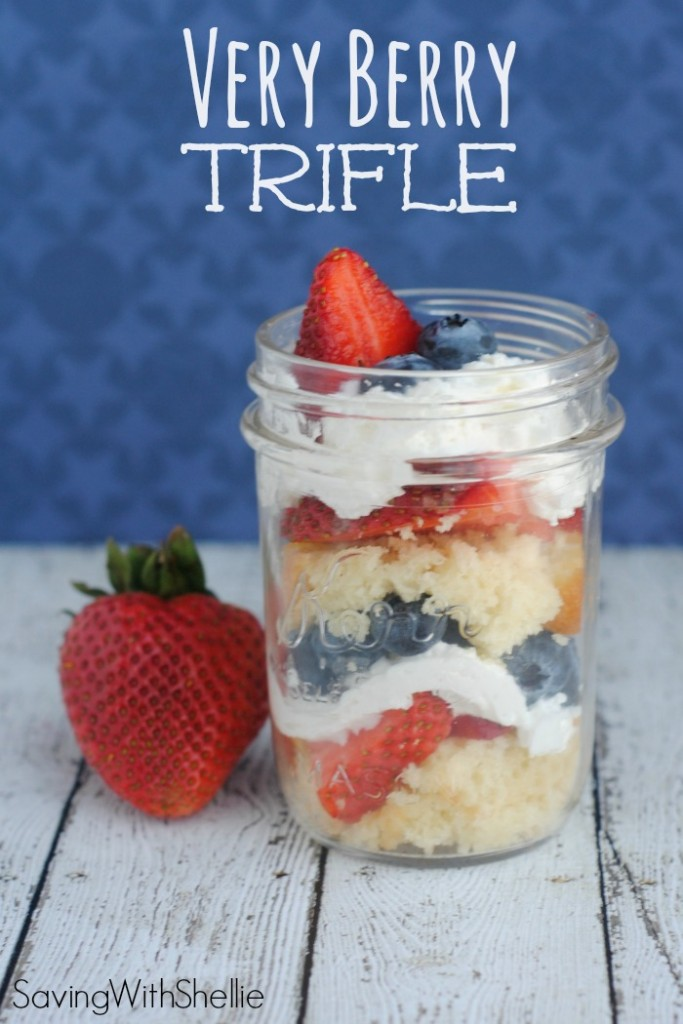 Cake in a Jar. Adorable presentation and easy to assemble. This Very Berry Trifle recipe is perfect for Memorial Day, Fourth of July or any summertime barbecue!