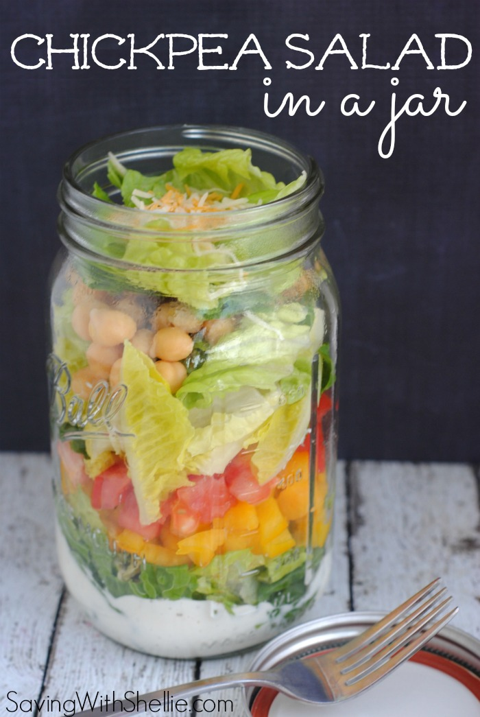 This Chickpea Salad in a jar is healthy and loaded with fresh flavor. Serve in a mason jar for an easy, on-the-go lunch.