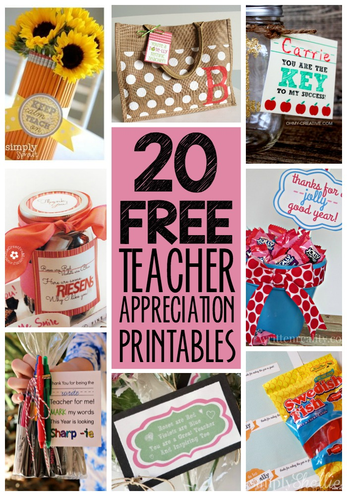 20 FREE Teacher Appreciation Printables!