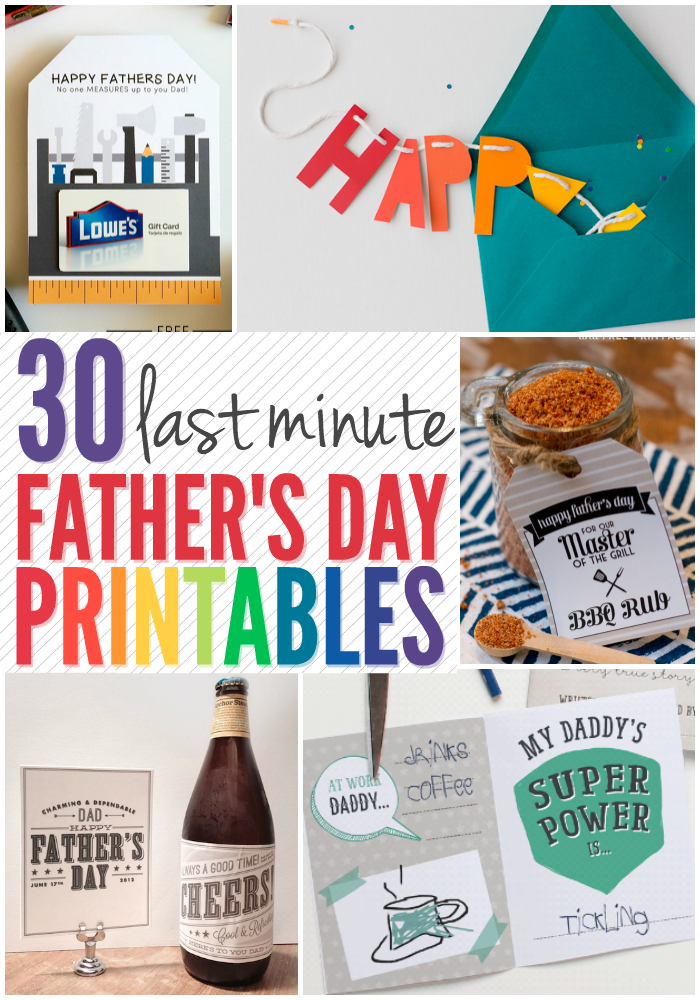 Struggling to find last minute gifts for Father's Day? Check out this list of 30 Father's DayPrintable gift tags, cards and more. There are so many cute ideas you'll have a hard time just picking one!