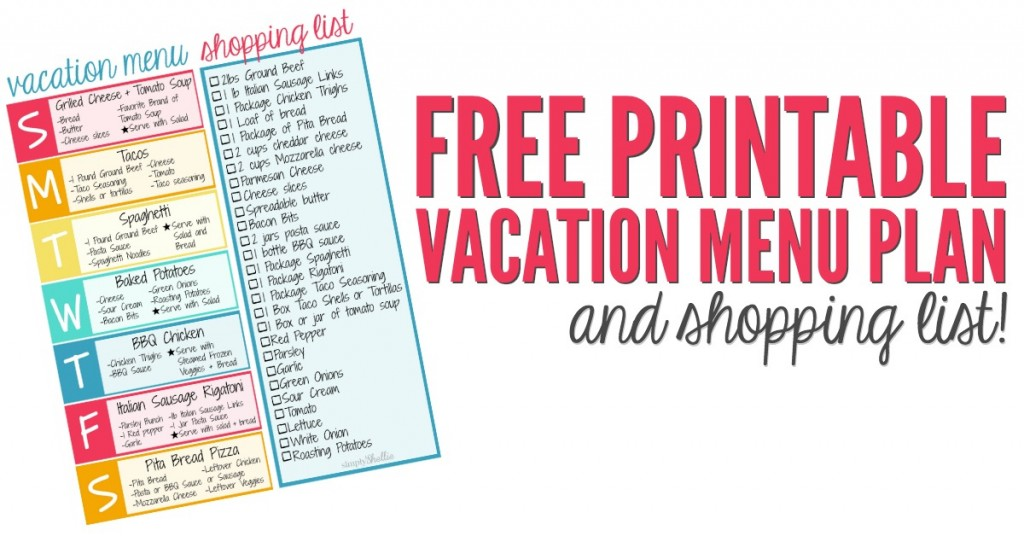 free printable vacation menu plan and shopping list