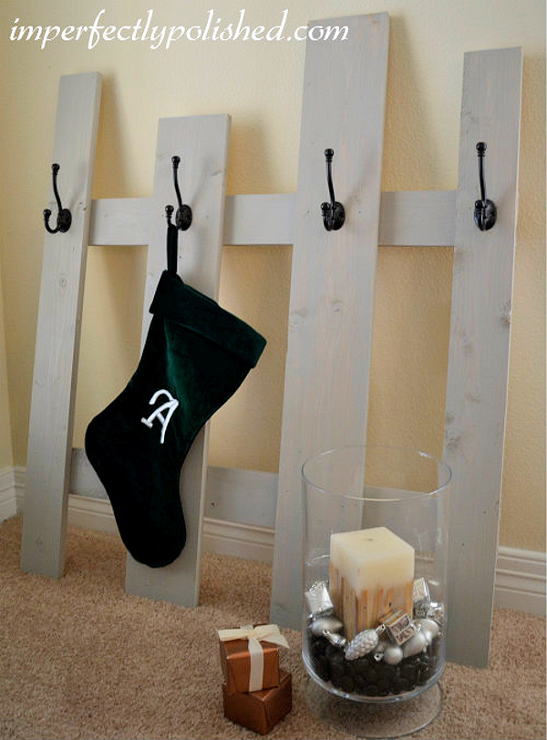 DIY Leaning Stocking Holder Tutorial via Imperfectly Polished