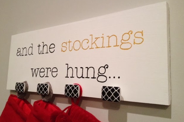 Modern Wall Hanging Stocking Holder via Mini Mama Co