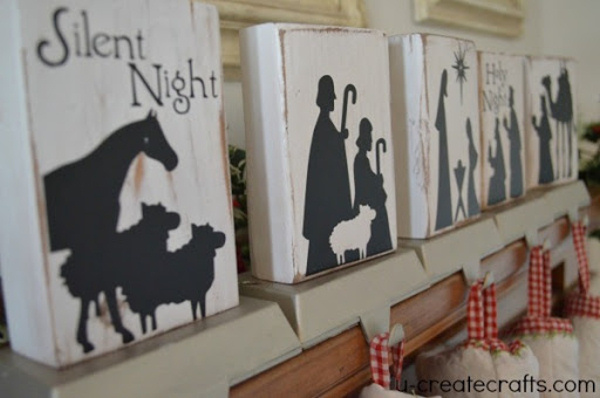 Nativity Silhouette DIY stocking holders via create crafts