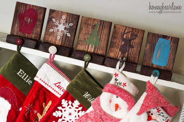 rustic-christmas-stocking-holders Honeybear Lane