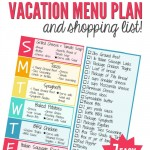 Vacation Home Menu Plan & Shopping List